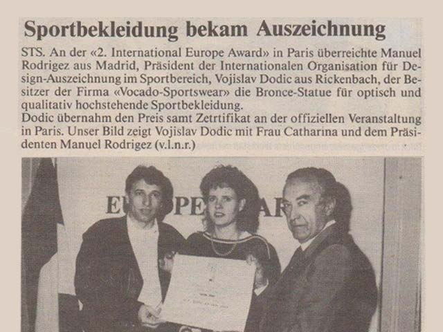 VOCADO INTERANTIONAL EUROPE AWARD 1988